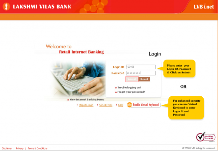 Lakshmi-Vilas-Bank-Login-Interface